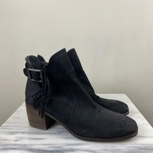 Lucky Brand Makenna Suede Cutout Fringe Booties